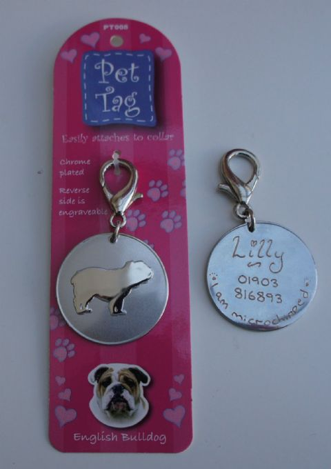 ENGLISH BULLDOG ID TAG  ENGRAVED FREE
